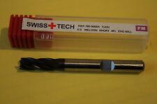 Swiss + tech (serie 90) - 6MM de diámetro. Weldon 4FL Molino de Extremo TiAIN PM
