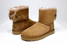 UGG NAVEAH MINI BOW CHESTNUT COLOR SUEDE SHEEPSKIN BOOTS SIZE 10 US