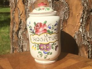 Pharmacy Jar Antique Apothecary French Faience Hand Painted  c1800's Drug Jar