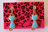 Betsey Johnson Crystal Rhinestone Enamel Cat Stud Earrings