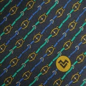 Blue Green Equestrian Striped MARIO VALENTINO Silk Tie