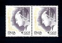 ITALIA REP. - 2002 - Donne nell'arte 0,03 € - Piero della Francesca 2 valori mnh