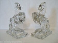 L.E. Smith Glass Rearing Horse Bookends Crystal Clear Horses Figurines 2 Set USA