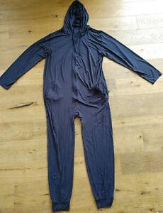 MeUndies Dark Sapphire Unisex Jumpsuit Size L/XL $88 Flaws Read Description