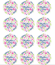 PRE CUT Mothers Day Wafer Paper Circle Cupcake Cake Toppers Decorations Floral