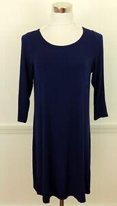 DragonFly Brand L Shift Dress Stretch Knit Yoga Leisure Comfort Tunic Blue