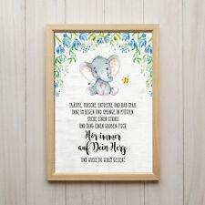 Hör auf Dein Herz Kunstdruck DIN A4 Elefant Spruch Bild Kinderzimmer Tiere Deko