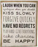 Natural Hessian Slogan Wall Plaque ~ Be Happy 40.5 X33 Hanging Sign