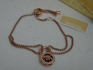 Michael Kors Rose Gold Slide Chain Bracelet Crystal Pave Padlock MKJ7382791 +BOX
