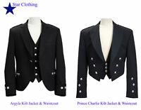 Scottish Argyle / Prince Charlie kilt Jacket & Waistcoat Black Outfit--All Sizes