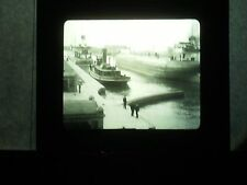 VINTAGE COLLECTIBLE GLASS PICTURE NEGATIVE Whaleback Freighters of Ore in Canal