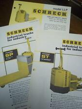 Shreck Industrial Truck Brochure Inserts~ST/SP/LLP~Specifications