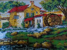 French vintage cross stitch needlework embroidery lovely scene
