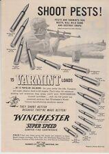Vintage 1952 Winchester rifle varmint cartridge loads SHOOT PESTS! ammo print ad