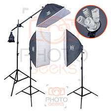 Softbox Studio Lighting Kit - 3 Continuous Lights & Boom - Photography Video