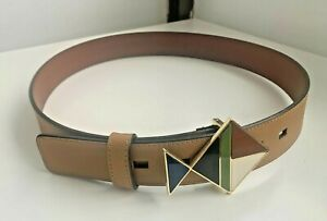 "Tory Burch 1-1/2"" Leather Fish Buckle Belt - Tiger Lilly - Size S (Item #190)"