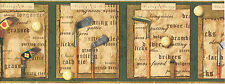 Vintage Antique Golf Club Ball Script Sport Brown Green Wall paper Border