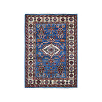 "3'3""x4'8"" Blue Super Kazak Geometric Design Pure Wool Hand-Knotted Rug R50421"