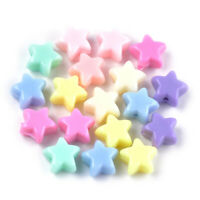 100 Random Opaque Acrylic Star Beads Smooth Tiny Solid Color Loose Spacers 11mm
