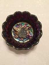 Amethyst Iridescent Carnival Glass Grape & Vine Candy Dish by Fenton