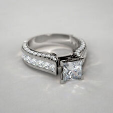 Certified 2.55Ct White Princess Cut Diamond Engagement Ring in 14K White Gold