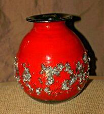Mid-Century Mod Ragnar Kjartansson Glit Icelandic Ceramic Red  Lava Vase   - MEF