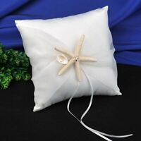 AW Wedding Ring Bearer Pillow Beach Theme Ivory Wedding Ring Holder w/ Starfish