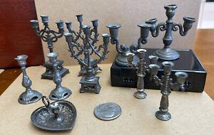 Mixed Lot Antique & Vintage Dollhouse Miniature Gray Metal Candlesticks