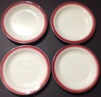 Restaurant Ware Homer Laughlin 4 Dessert Salad Bread Plates Rose Cranberry 6 3/4