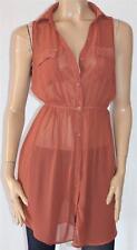 COTTON ON Pinkish Brown Betty Sheer Sleeveless Shirt Dress Size XS BNWT #sH65