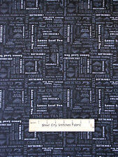Kitchen Food Words Blue Cotton Fabric Quilting Treasures Afternoon Delight YARD