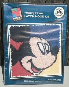 "NIB Caron Disney  MICKEY MOUSE Latch Hook Kit No. D0001 13"" X 13"" 2000"