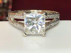 VINTAGE ESTATE 14K WHITE GOLD MOISSANITE & DIAMOND RING ENGAGEMENT APPRAISAL