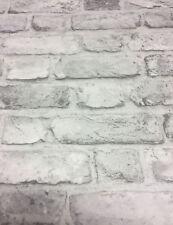 3D Brick Style Wallpaper Slates Stone Real Life Textured Vinyl Grey Grandeco