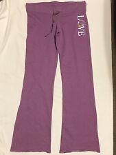 Women's Juniors DEREK HEART Stretch Sweatpants Yoga Pants Purple Love Sz S