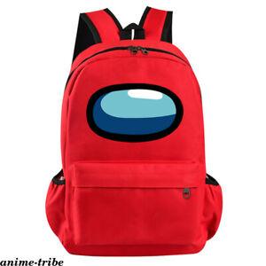Game Among Us Cartoon Backpack Unisex Canvas Knapsack Zipper Student Schoolbag