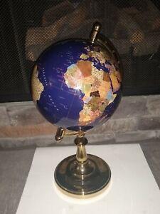 """Lapis World Globe GemStone Desk Size 16"""""""