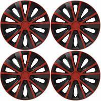 "4 x Back & Red Wheel Trims Hub Caps 14"" fits Fiat Punto Doblo Panda Stilo 500"