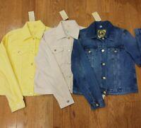 NWT $120 MICHAEL KORS Jean Jacket MK Logo buttons Blue Pink Yellow White Denim