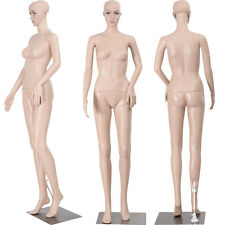 "68.9"" Female Mannequin Plastic Realistic Display Head Turns Dress Form Iron Base"