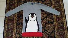 BABY GAP Intarsia Penguin Gray Red Black White Sweater Dress Girl Size 5T