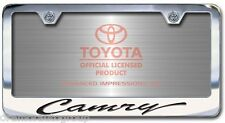 NEW Toyota Camry Chrome License Plate Frame Engraved Script Letters