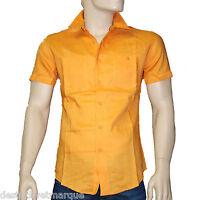 REDWOOD Chemise lin (ramie) slim fit orange manches courtes homme