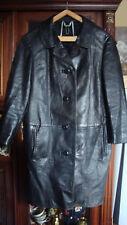 Beau manteau cuir patiné vintage années 60 nouvelle vague  42 44