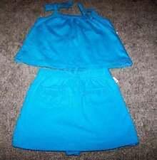 NWT New Little Girls Skort & Top by Wonder Kids Sz 12 mo. Blue Sleeveless Cotton