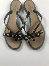 Valentino Garavani Rockstud PVC Flat Thong Sandals Size 37