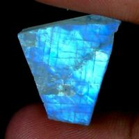 Natural Blue Power Rainbow Moonstone Fire Rough Slab For African Gemstone JG2016