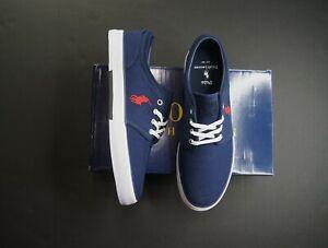 POLO RALPH LAUREN Men's Faxon Newport Navy Herringbone Low-Top Sneakers NEW NIB