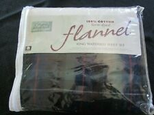 Jc Penneys Cotton Flannel Sheet Set, King Waterbed, 4 Pc, Soft Blue Green Plaid