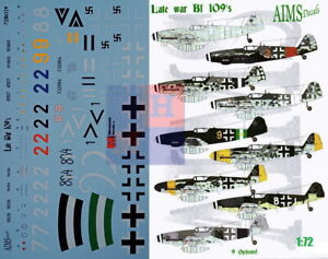 """1/72. Messerschmitt Bf-109 """"Late war 109s"""", decals by """"AIMS Models"""" 72D029"""
